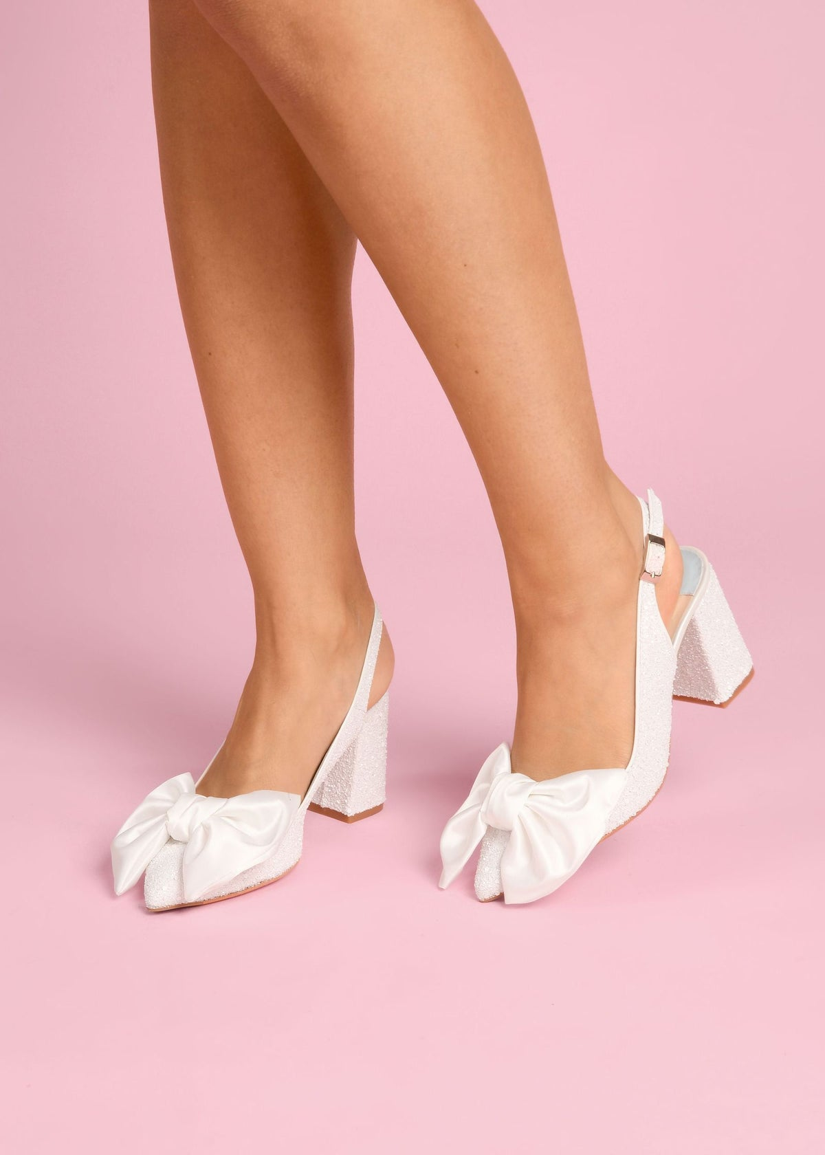 Jill - Pearl Bow by Charlotte Mills Wedding Shoes