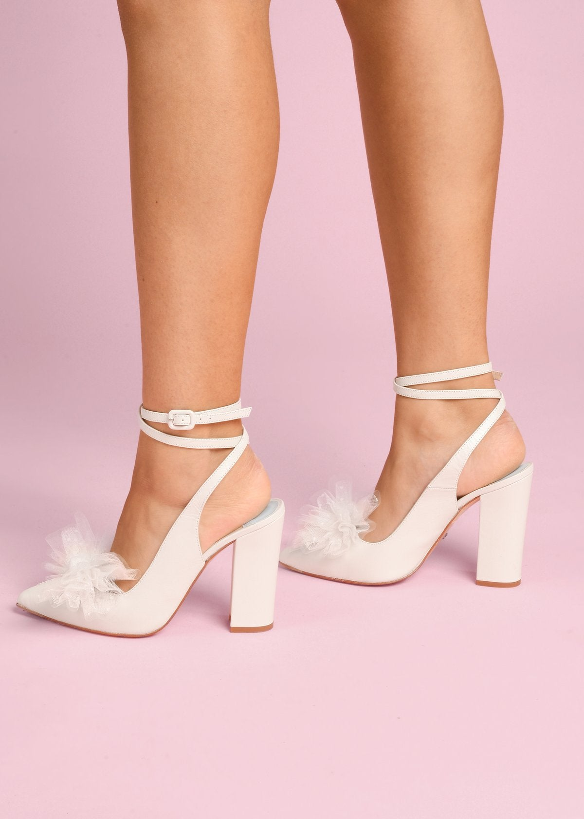 Joni - Pearl Tulle Bow by Charlotte Mills Wedding Shoes