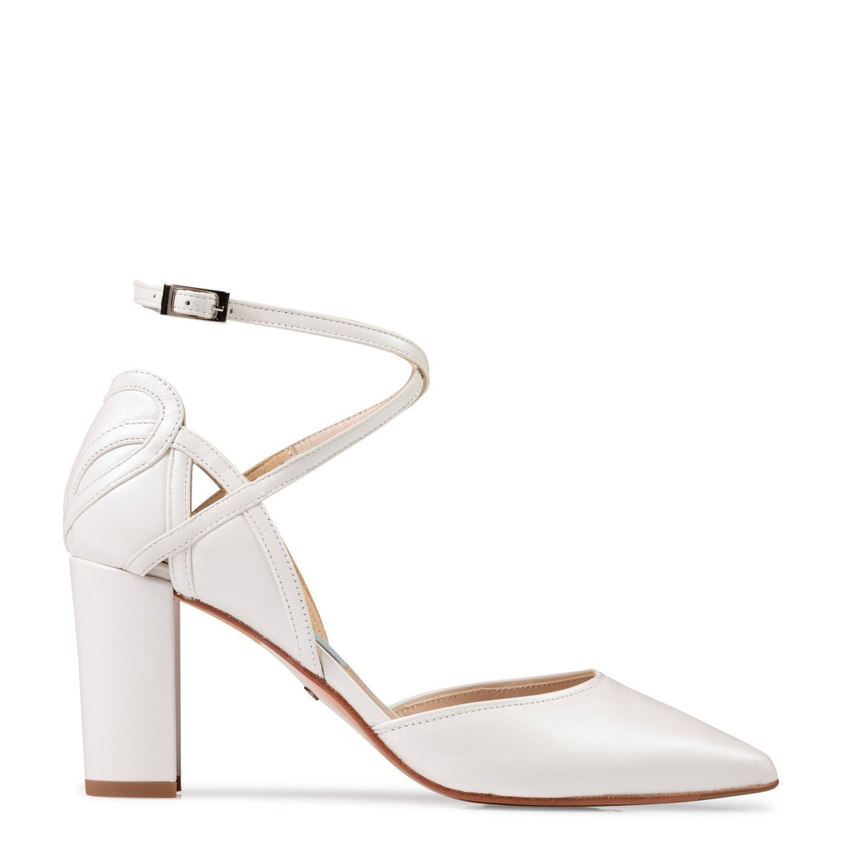 Meggy - Ivory Leather Wide Fit by Charlotte Mills Wedding Shoes