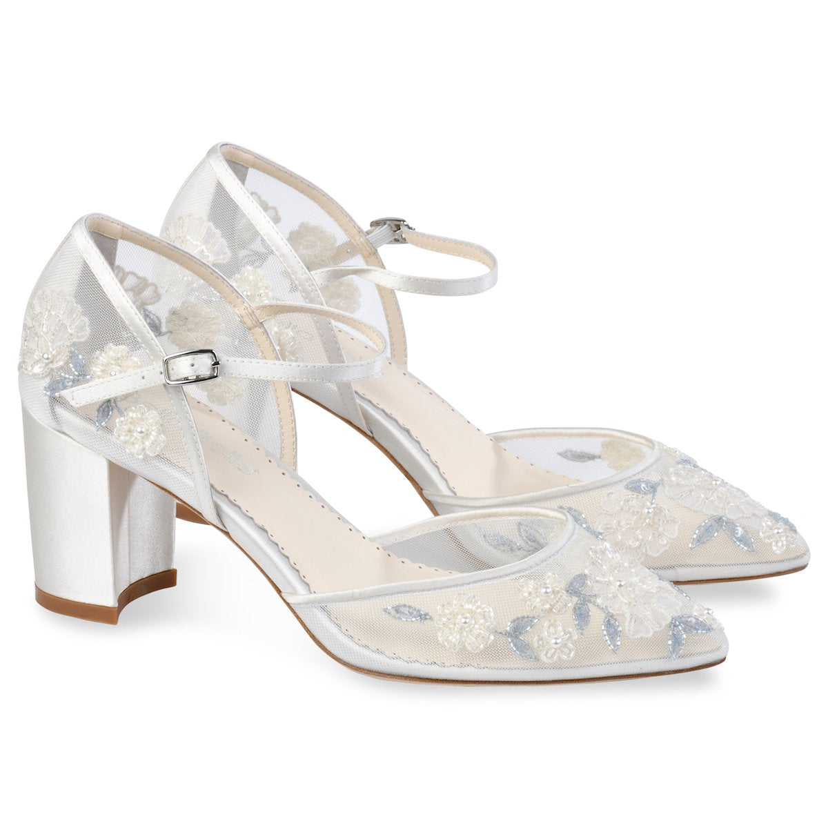 Vivian -  Baby blue Embroidered Block Heel