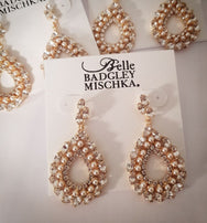 Gold and Pearl Loop Earrings