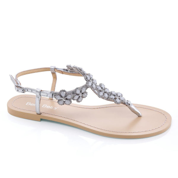 Bella Belle - Rhea - Silver Flower Evening Sandals - Wedding Shoes Sydney