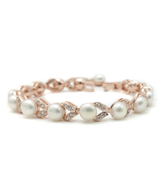 Simone Freshwater Pearl and CZ Bracelet  (Rose Gold)
