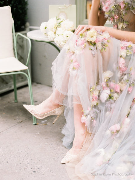 Elsa - Nude - Sequin Crystal Wedding Shoes