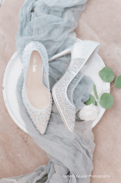 Elsa - BLUE - Sequin Crystal Wedding Shoes