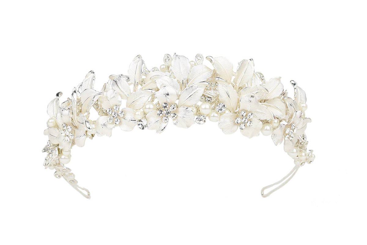 Heather Crystal & Pearl Crown (Silver)