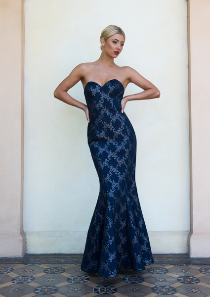 Bariano - Winnie - Strapless Sequin Mesh Gown
