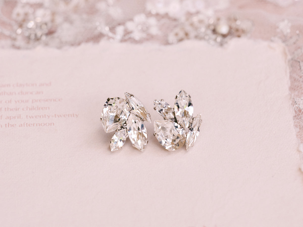 Acacia - Rhodium Plated Clear Swarovski Pear, Navette & Marquise Cluster Stud