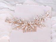 Amelia - Leaf Design, Crystal and FW Pearl Comb