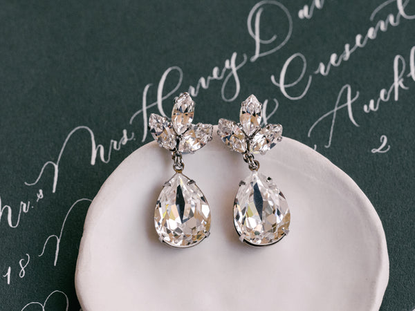 Anastasia - Rhodium Plated Clear Swarovski Trio & Pear Crystal Drop