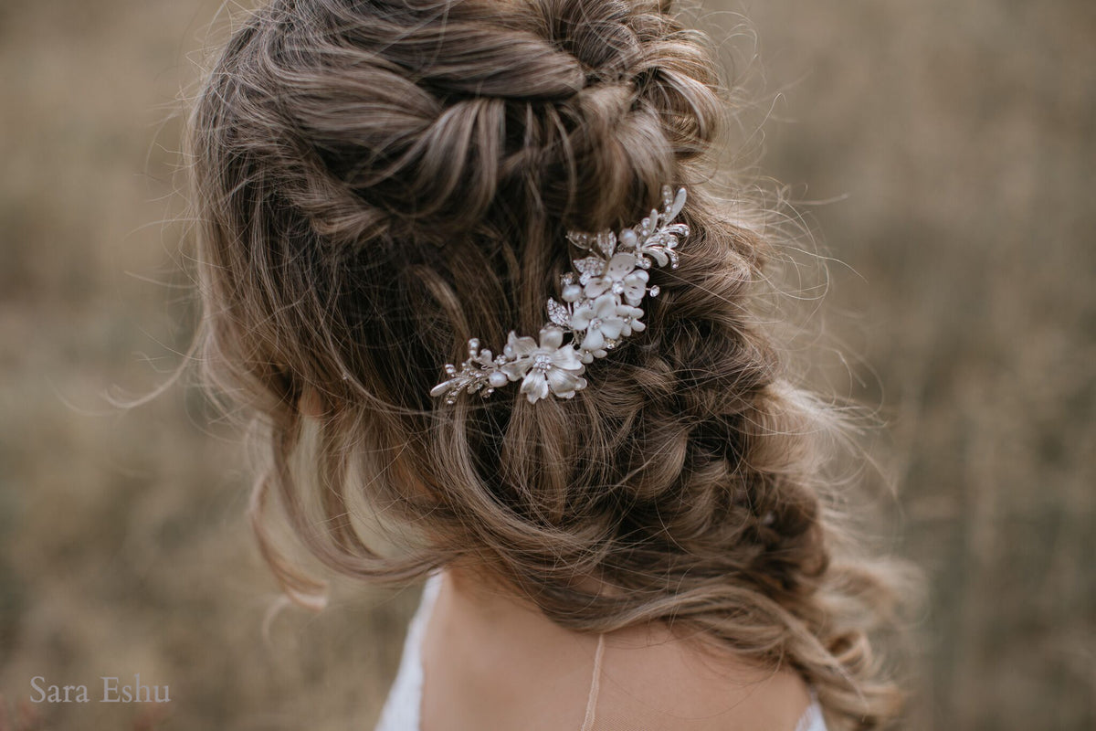 Angelica - Crystal Flower Clip (Silver)