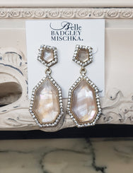 Geometric Peach Crystal Glass Earrings