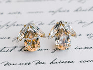 Bird Stud - Gold Plated Clear Swarovski Sphinx and Light Silk Pear Earrings