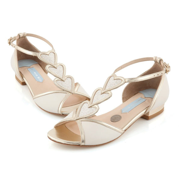 Charlotte Mills Wedding Shoes Australia - Flat Leather Wedding Shoes - Blond