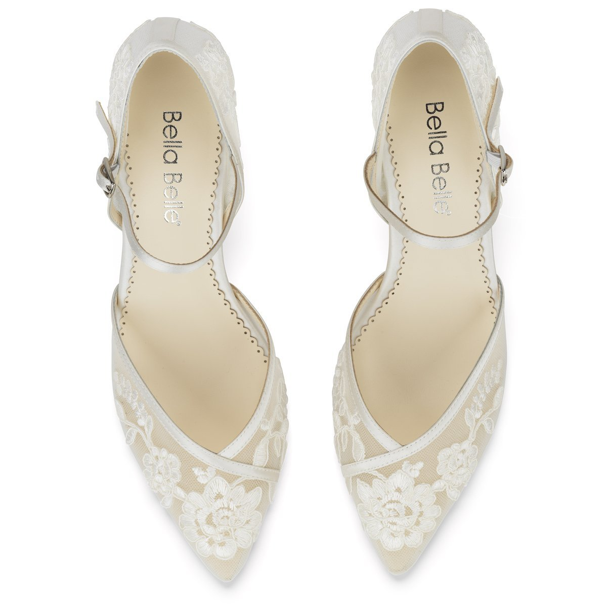 Candice -  Ivory Lace Low Heels