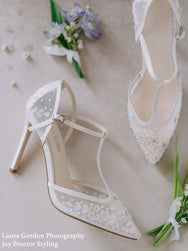 Charlotte - Floral Beaded T-Strap Heel