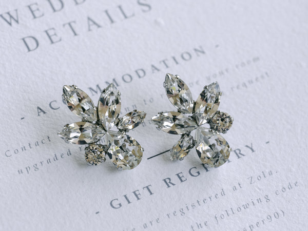 Elina - Rhodium Plated Clear Swarovski Crystal Mix Cluster