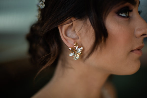 Elina - Gold Plated , Light Silk & Clear Swarovski Crystal Mix Cluster