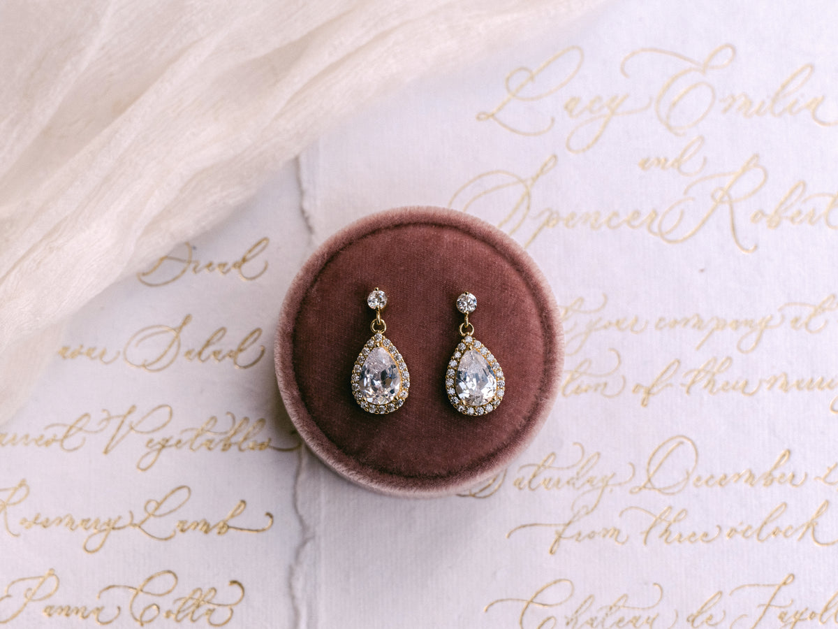 Estelle - CZ Dainty Pear Drop Earrings