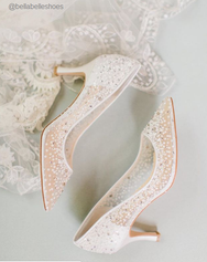 Evelyn - Sequin Low Ivory Wedding Shoes