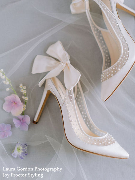 Gabrielle - Pearl Slingback Heel With Bow