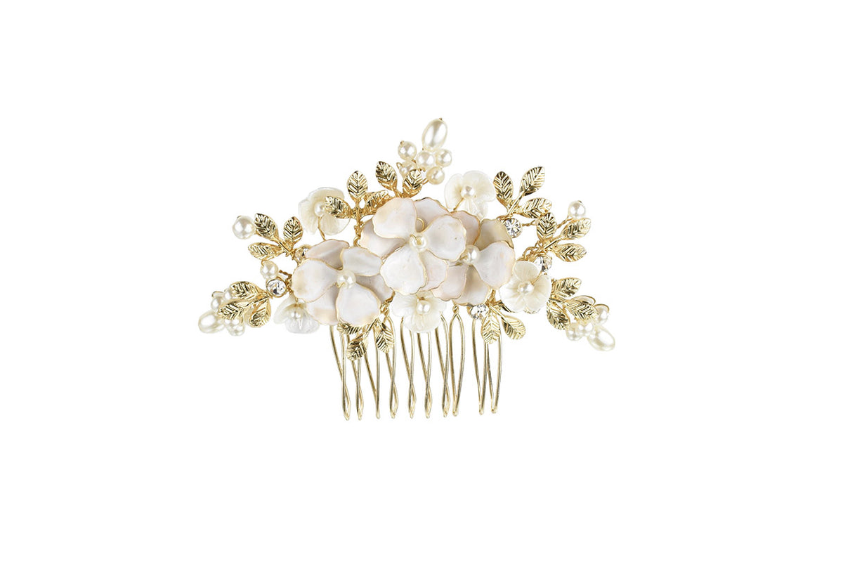 Elle - Small Floral Comb (Silver, Gold & Rose Gold)