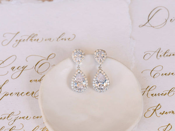 Sophie - Double Teardrop Bridal Earrings