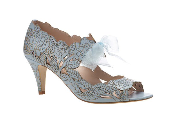 Harriet Wilde Blue Wedding Shoes - Peony - Low - Blue