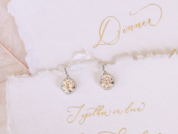 Lucy - Round CZ Drop Earrings