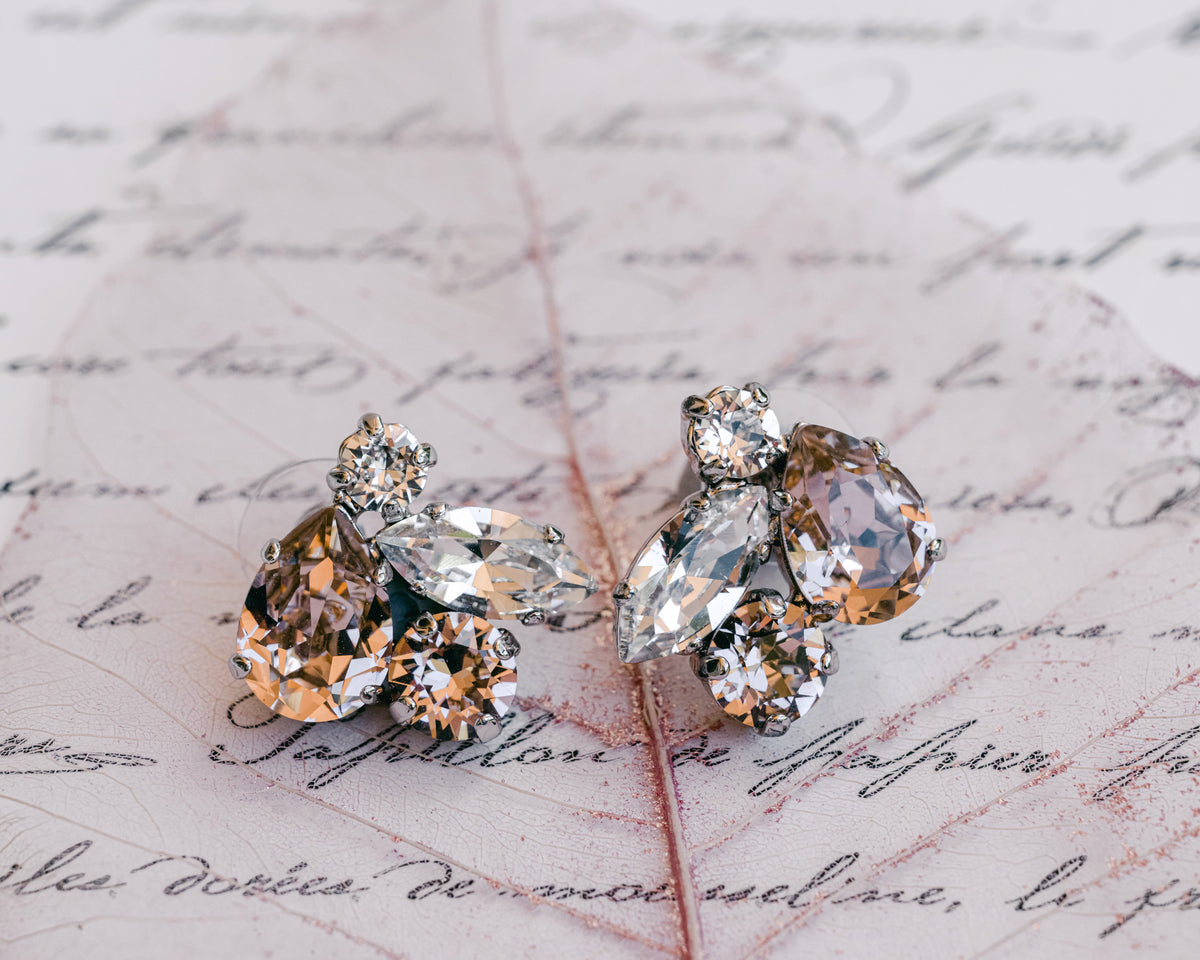 Marley - Rose Gold Swarovski Crystal Cluster Earrings