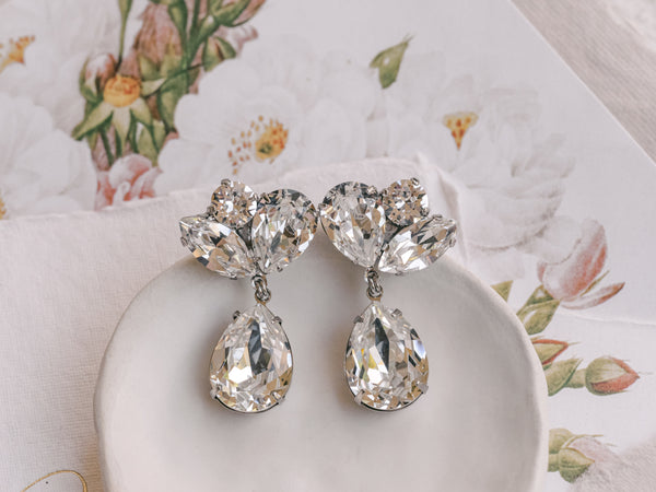 Nora Junior Drop- Rhodium Plated Clear Swarovski Pear Drop