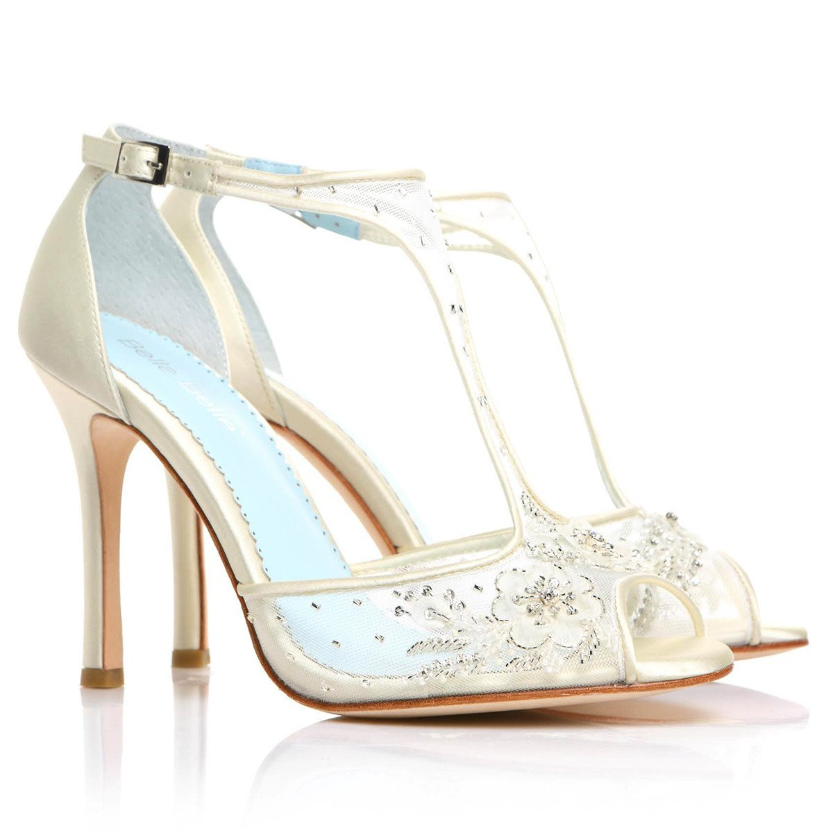 Bella Belle Wedding Shoes - Paloma - T Strap Beaded Heels