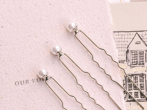 Pearl Hair Pin Trio