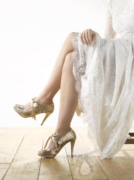 Harriet Wilde Gold Wedding Shoes - Peony - Platform - Gold
