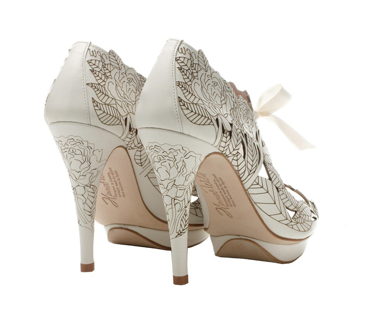 Harriet Wilde - Ivory Laser Etched Wedding Shoes Peony - Platform - Ivory