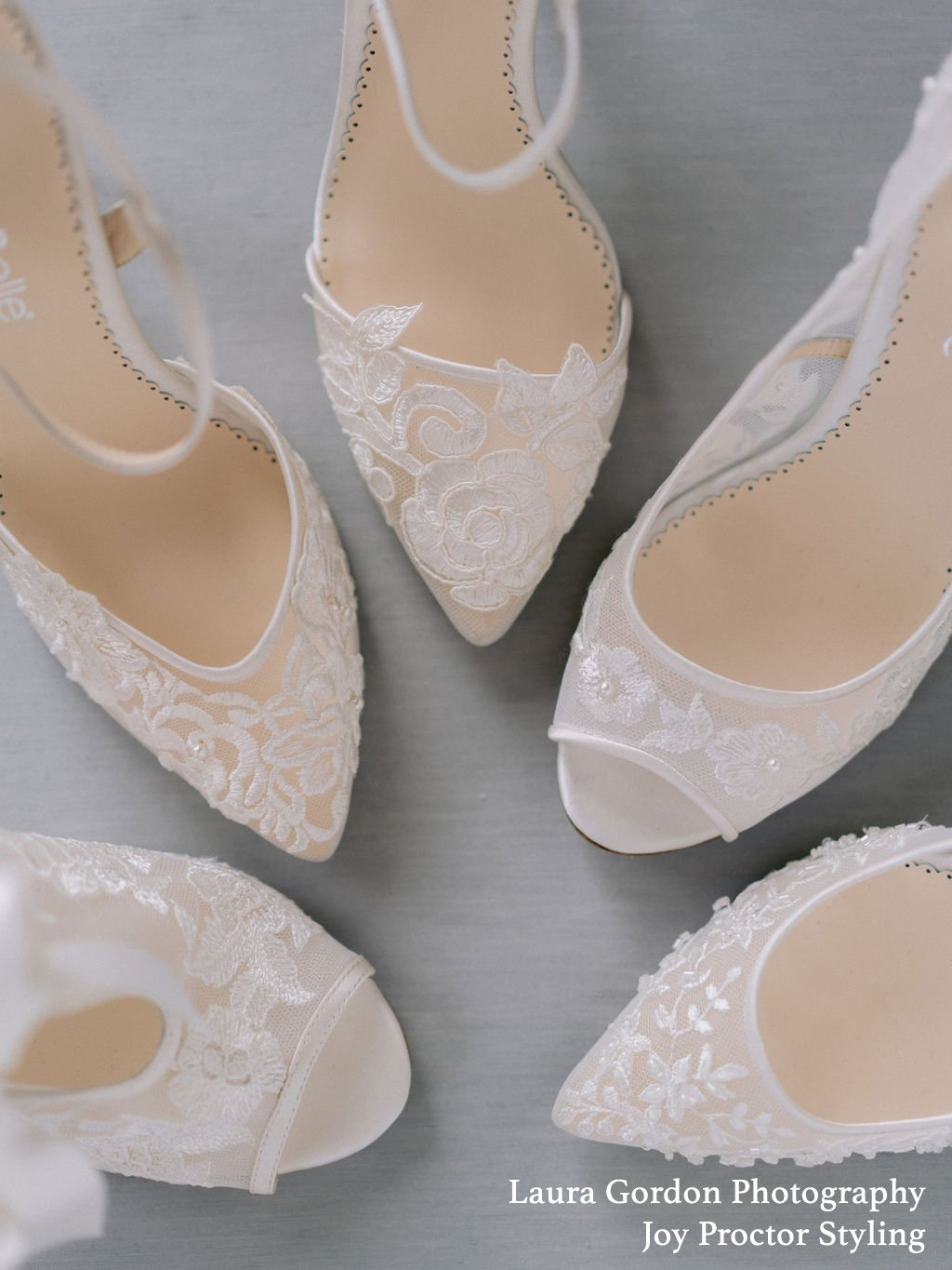 Emily - Ivory Peep Embroidered Lace Pump
