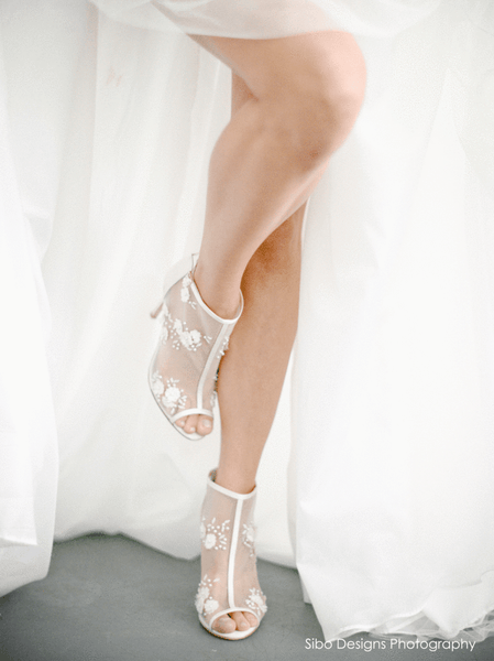 Bella Belle - Belle - Flower Chiffon Booties - Wedding Shoes Sydney