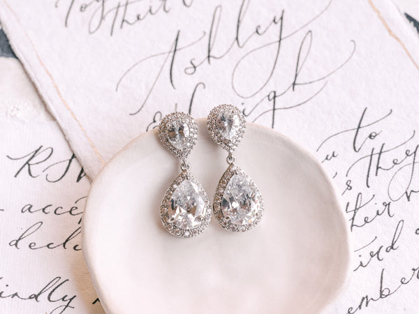 Sienna - Large Double Tear Drop Bridal Earrings