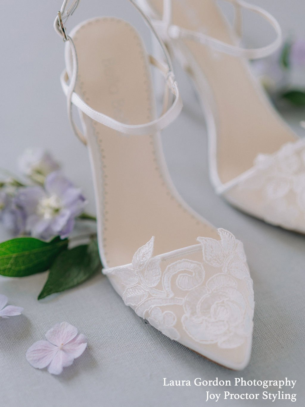 Sylvia - Ivory Flower Embroidered Lace Heel