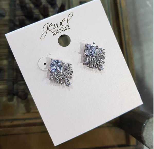 Silver Square Bottom Crystal Stud Earrings