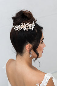 Autumn - Sweet Pearl, Floral and Crystal Hair Clip