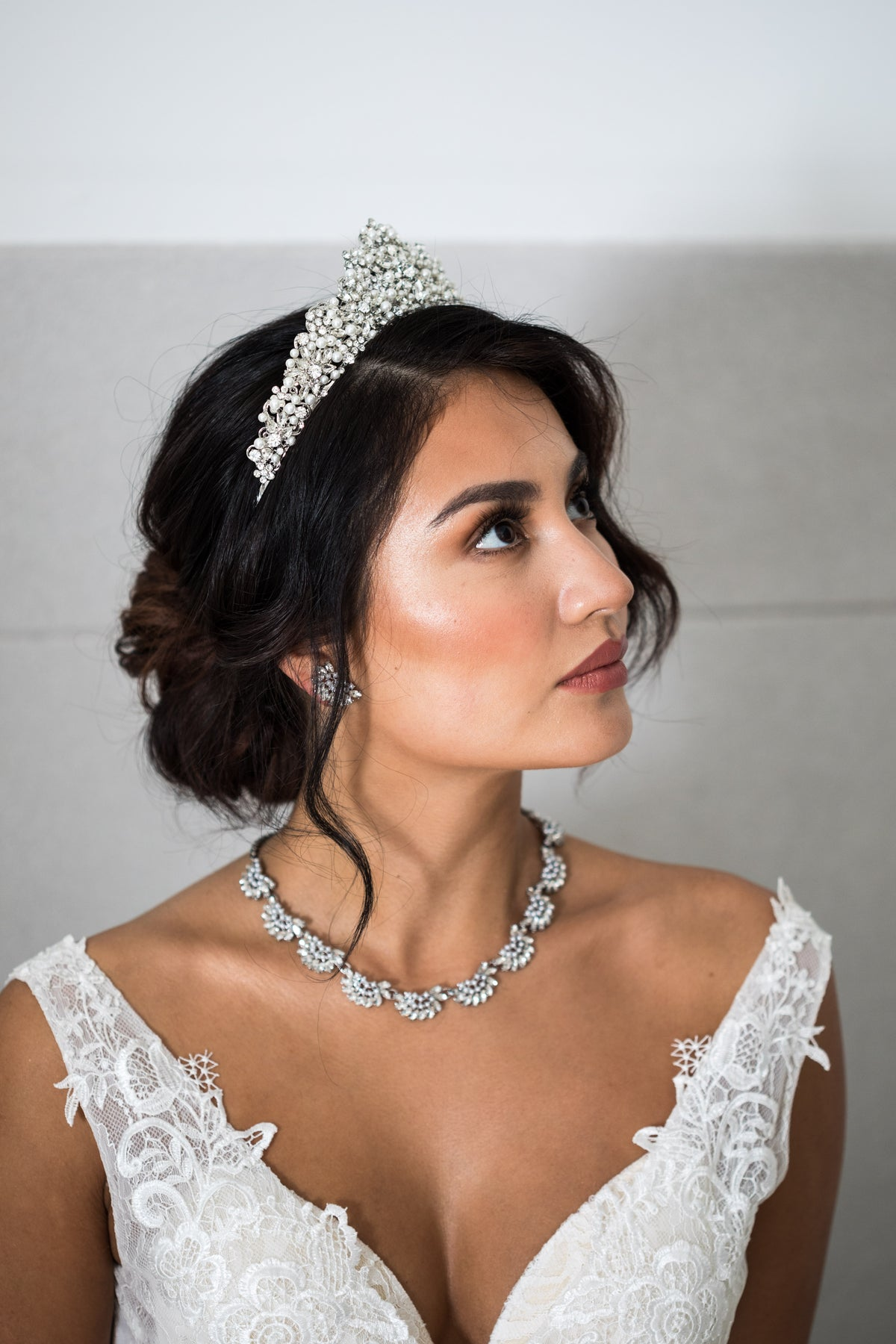 Torrie Crystal and Pearl Crown (Rhodium Plated)