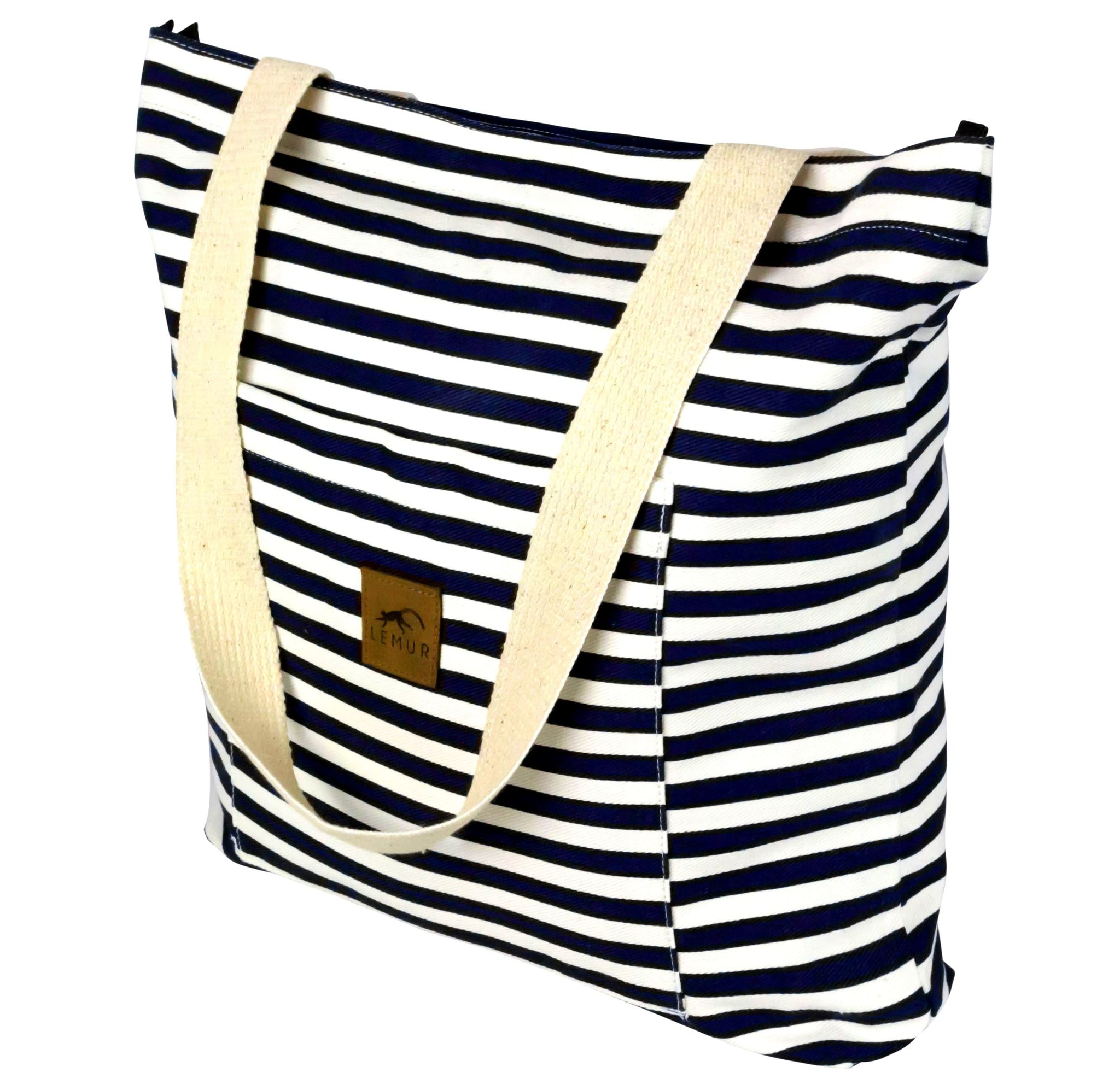 Blue Stripes Shopping Tote Bag