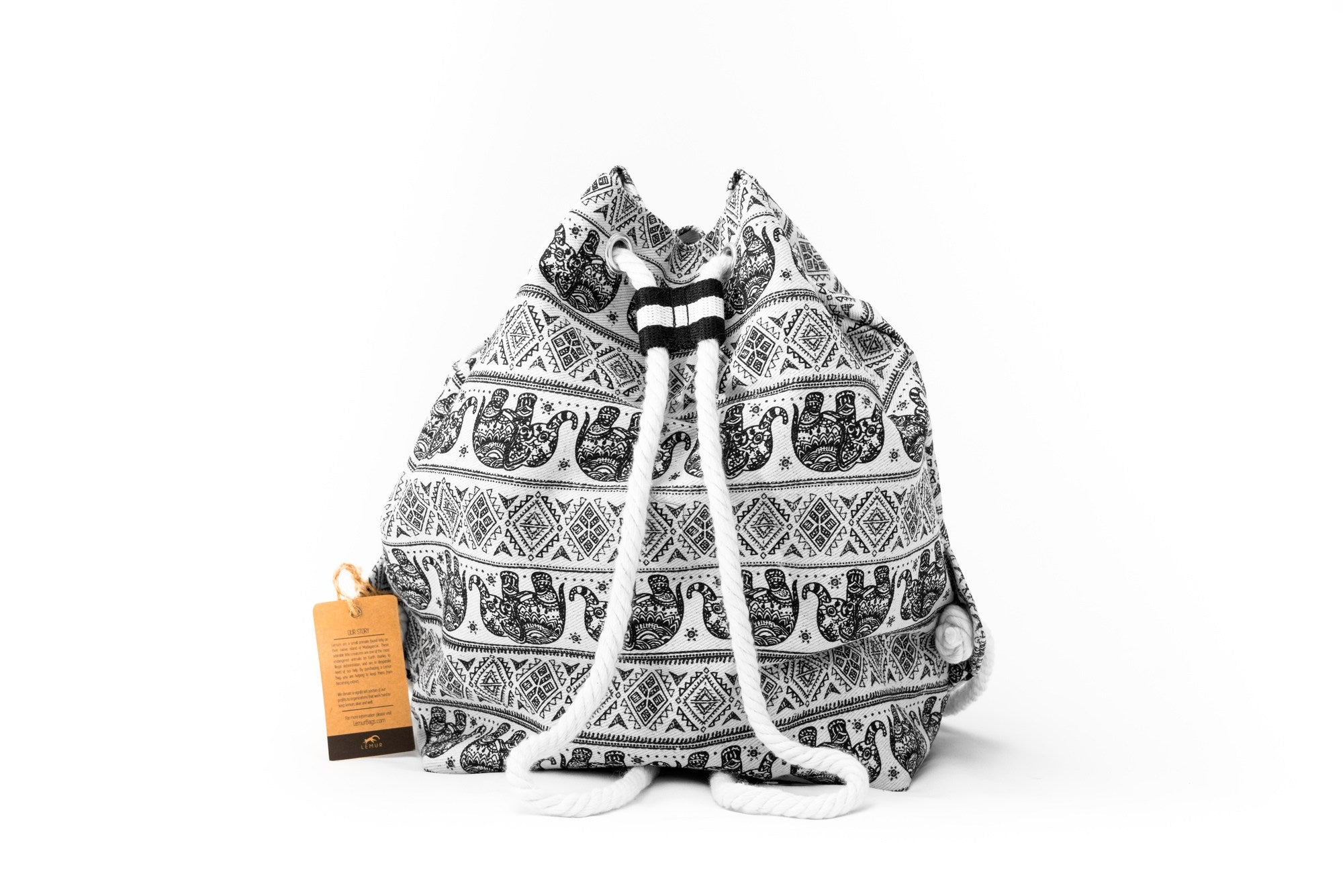 Elephants - Canvas Drawstring Day Bag