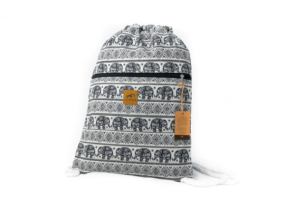 Canvas Drawstring Backpack - Elephants