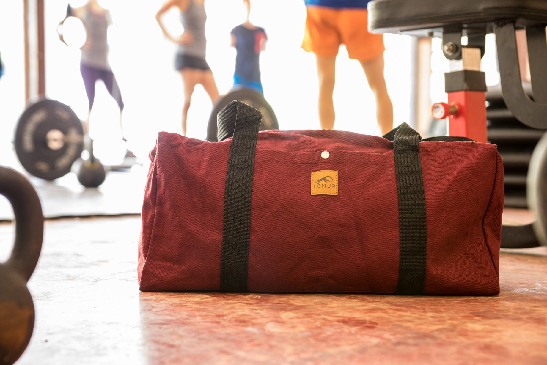 Burgundy Canvas Duffle Bag