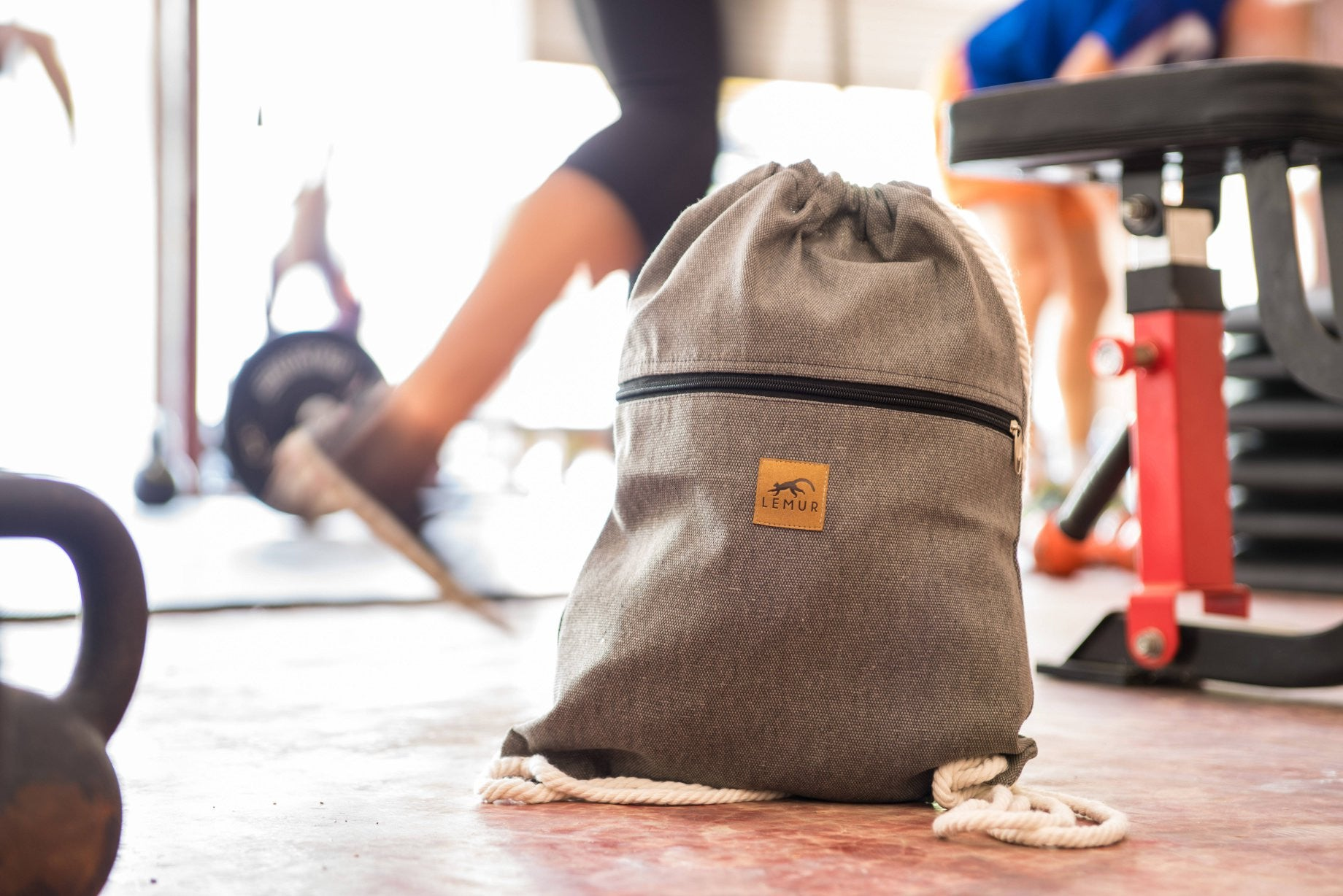 Stone Gray Canvas Drawstring Backpack