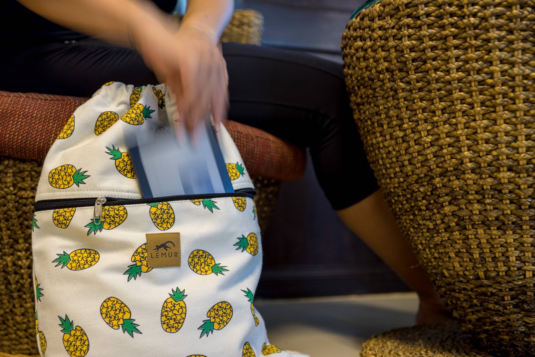 Pineapple Canvas Drawstring Backpack