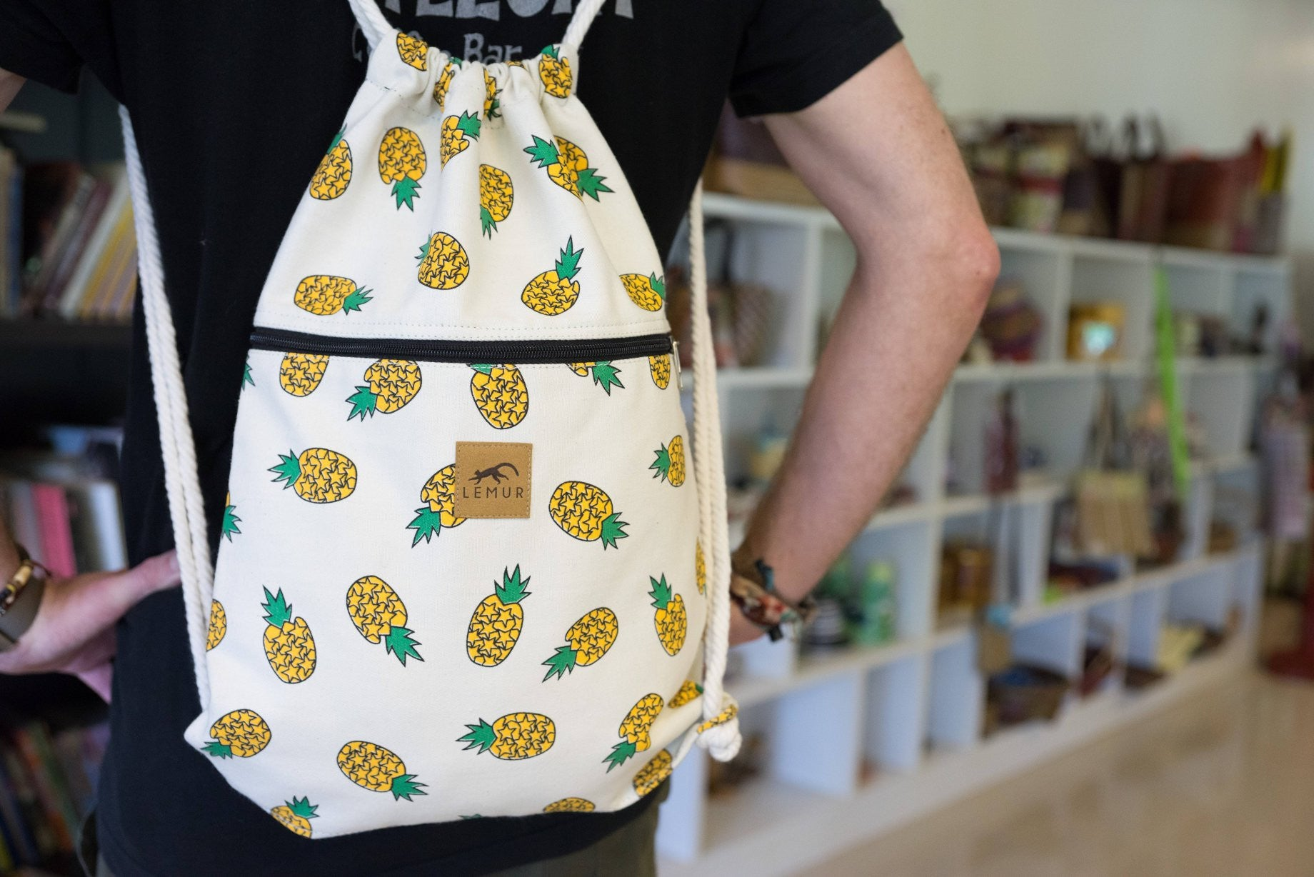 Canvas Drawstring Backpack - Pineapples