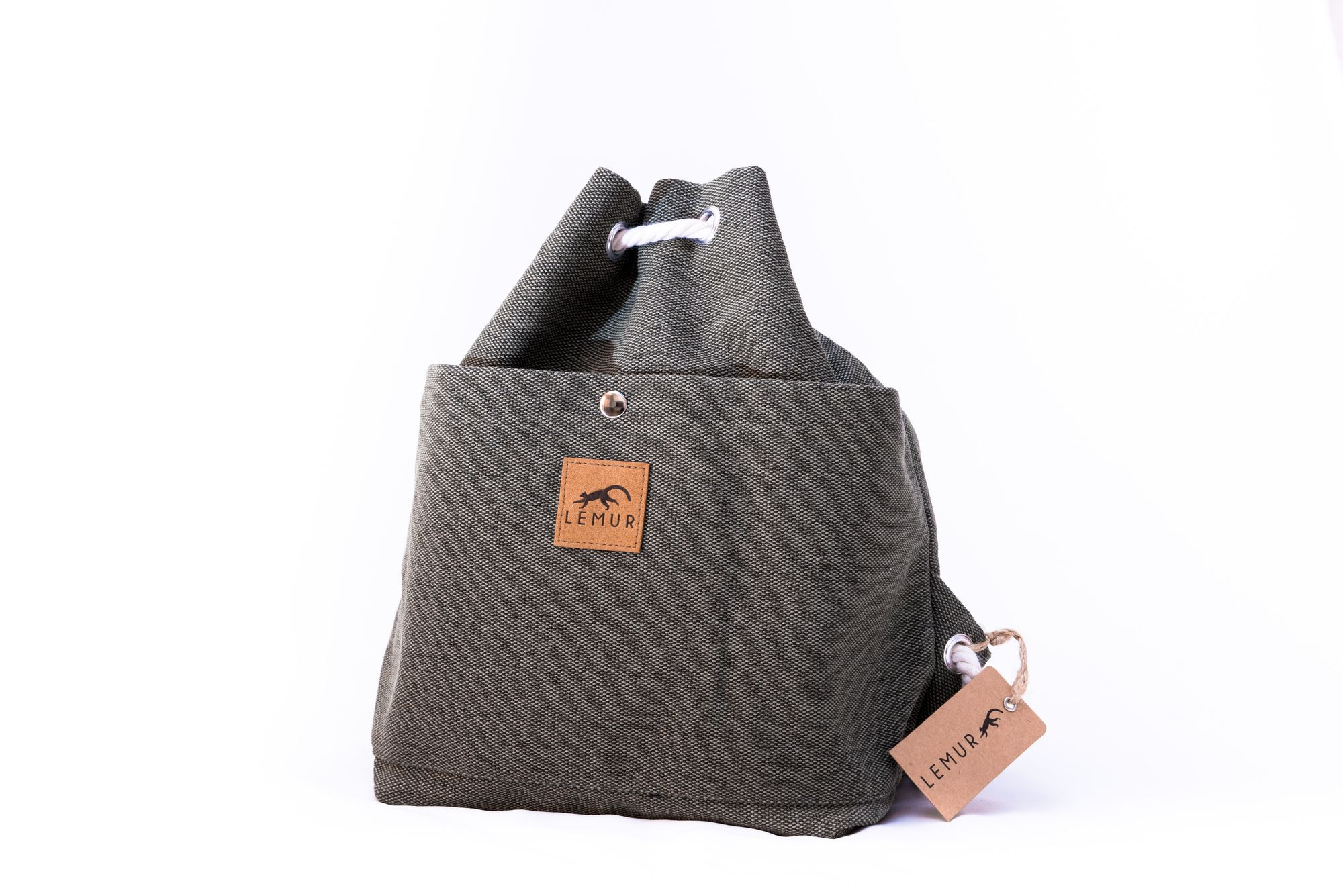 Stone Gray Canvas Drawstring Day Bag